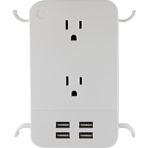 UltraPro 2-Outlet 4 USB Surge Protector Tap with Cable Management in White