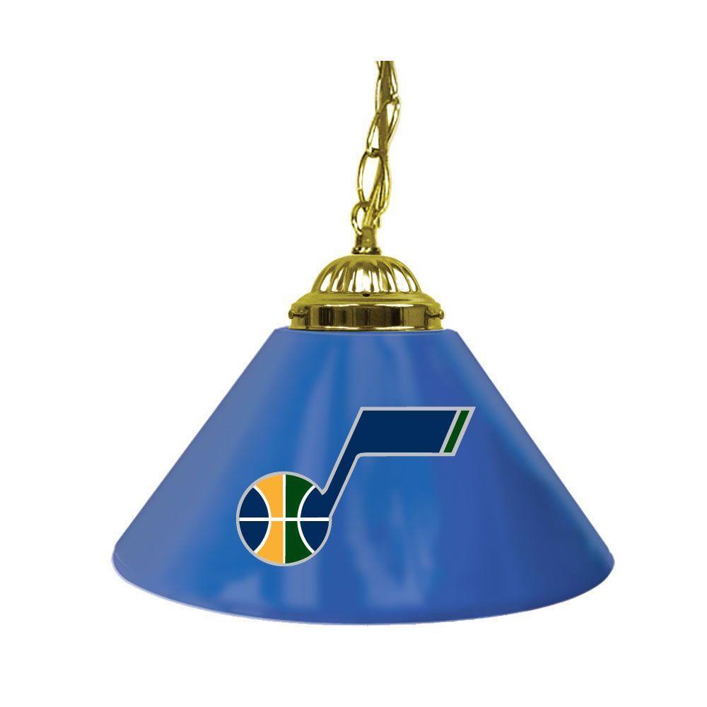 Trademark Global Utah Jazz NBA 14 in. Single Shade Gold Hanging Lamp