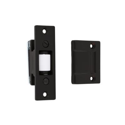 Solid Brass Heavy-Duty Silent Roller Latch with Square Strike Adjustable in Matte Black