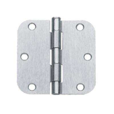 3.5 in. x 3.5 in. Brushed Chrome Plain Bearing Steel Hinge with 5/8 in. Radius (Set of 2)