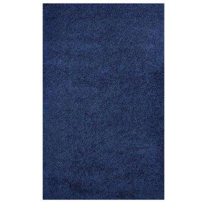 Enyssa Solid 8 ft. x 10 ft. Shag Area Rug in Navy