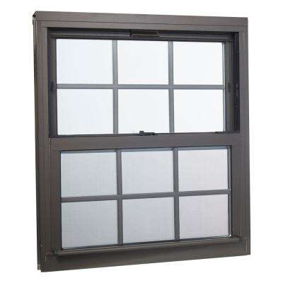 32 in. x 36 in. Double Hung Aluminum Window with Low-E Glass, Grids and Screen, Brown