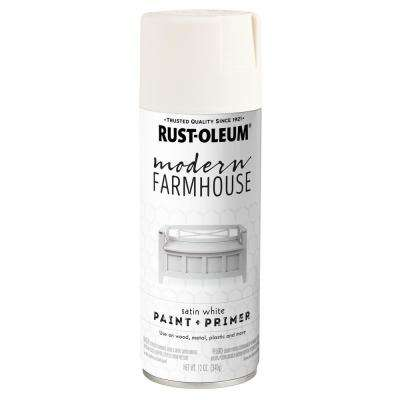 12 oz. Satin White Spray Paint (6 Pack)