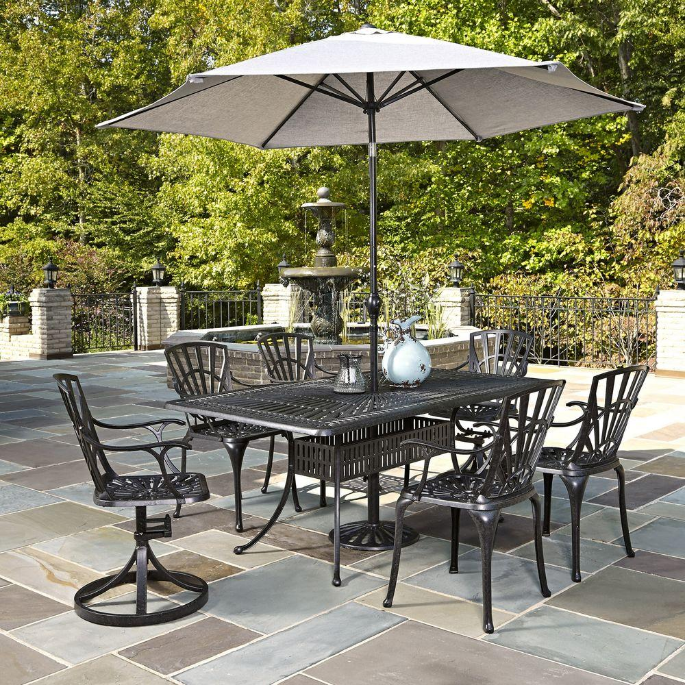 home styles largo 7 piece outdoor patio dining set with umbrella 5560 37586 the home depot. Black Bedroom Furniture Sets. Home Design Ideas