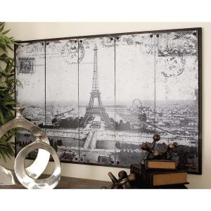 48 inch x 31 inch Paris-Inspired Gray Scale Eiffel Tower Postcard Wall Decor by