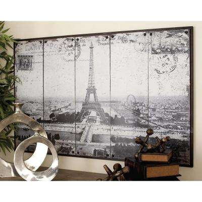 48 in. x 31 in. Paris-Inspired Gray Scale Eiffel Tower Postcard Wall Decor
