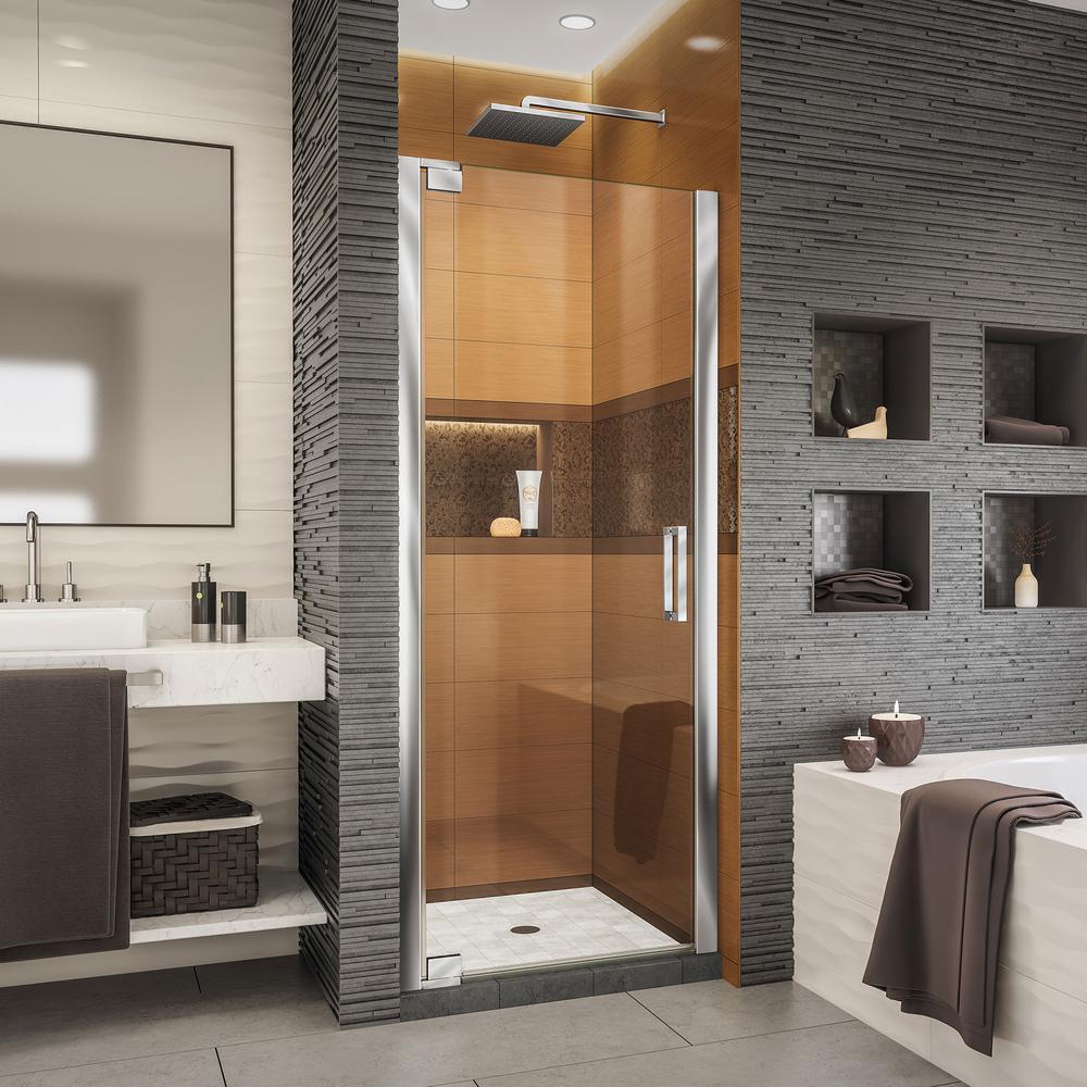Elegance-LS 27 in. to 29 in. W x 72 in. H Frameless Pivot Shower Door in Chrome