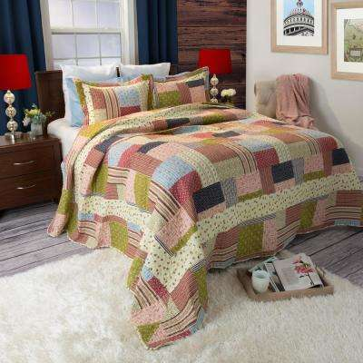 Savannah Green Polyester Twin Quilt