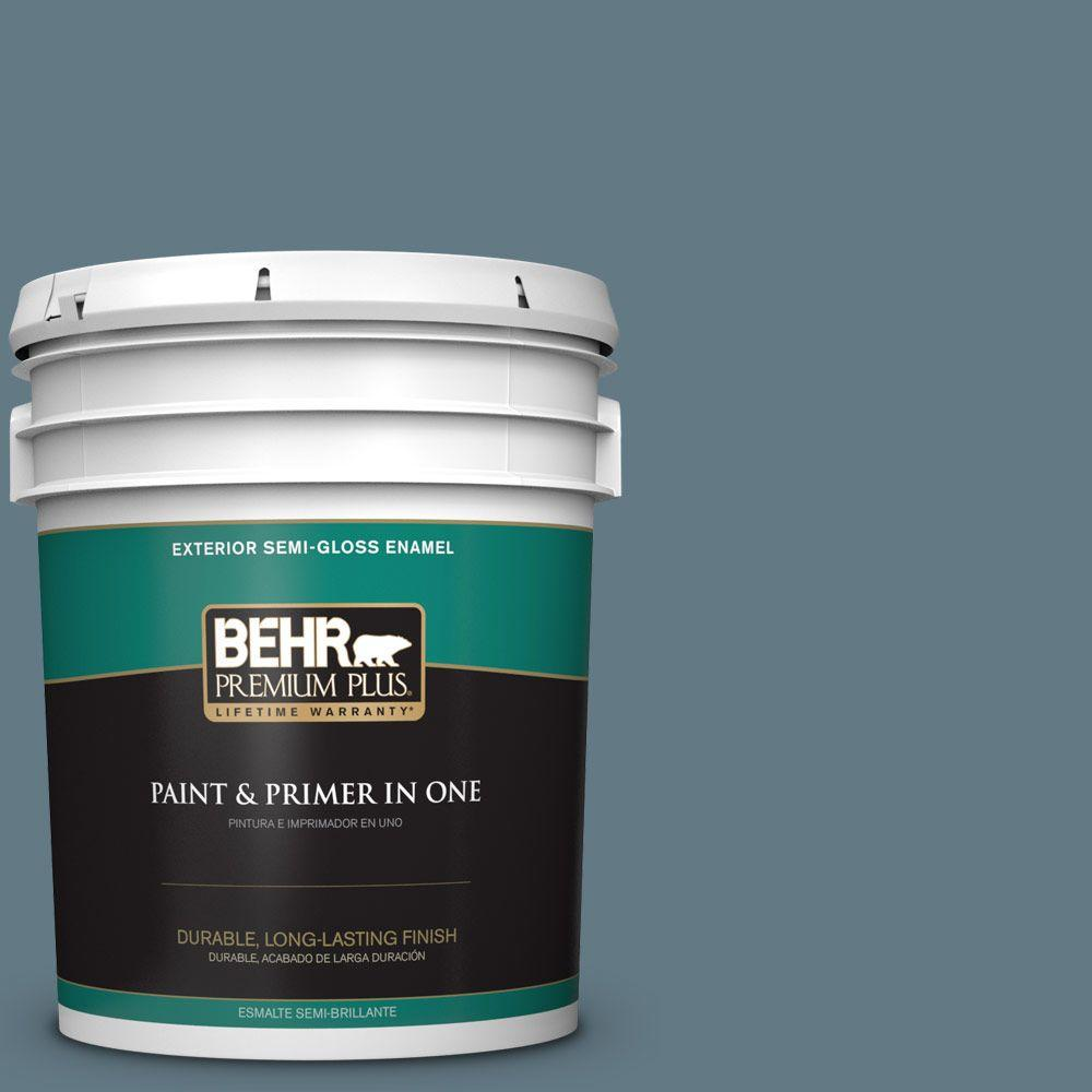 5-gal. #540F-5 Smokey Blue Semi-Gloss Enamel Exterior Paint