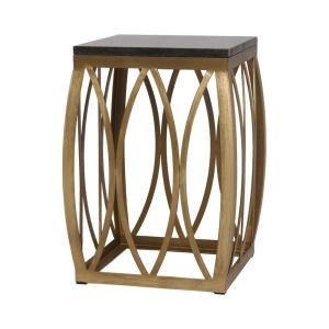 19 in. Vault Gold Metal Outdoor Side Table/Stool with a Black Granite Top