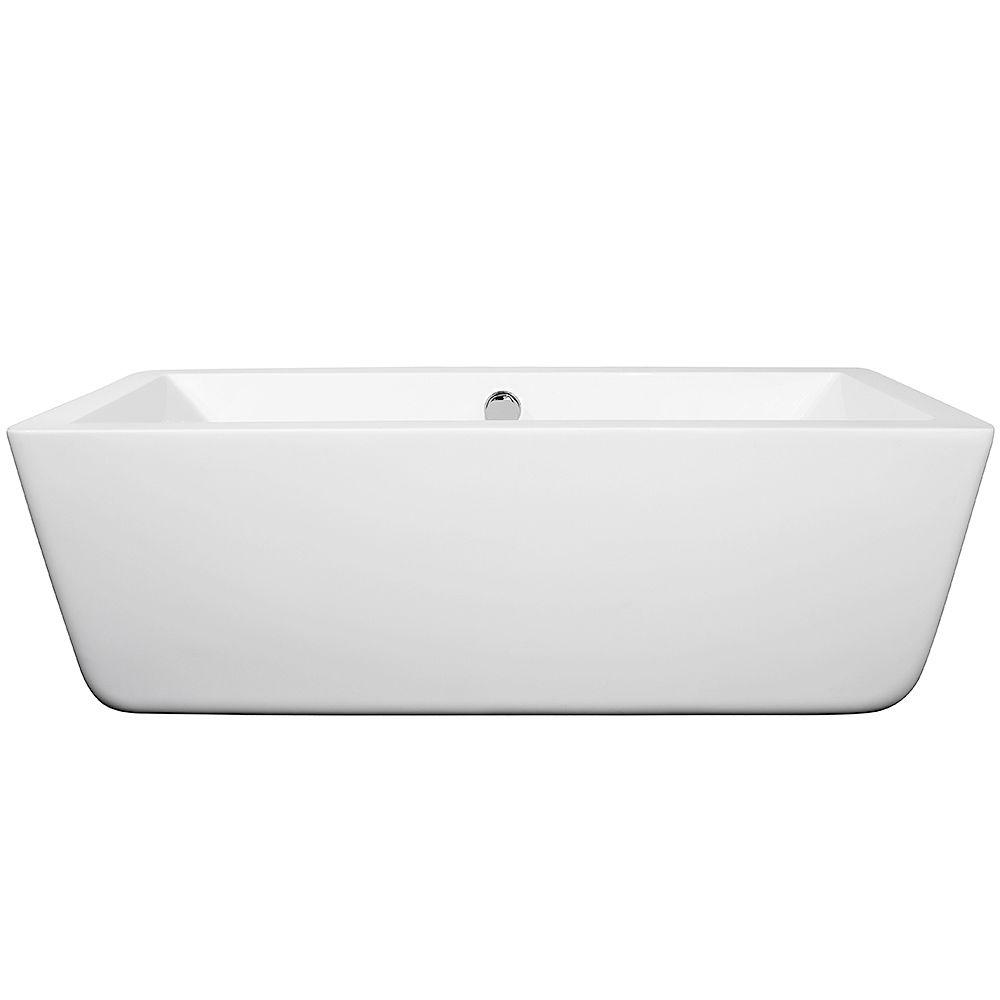 Wyndham Collection Laura 5.58 ft. Center Drain Soaking Tub in White