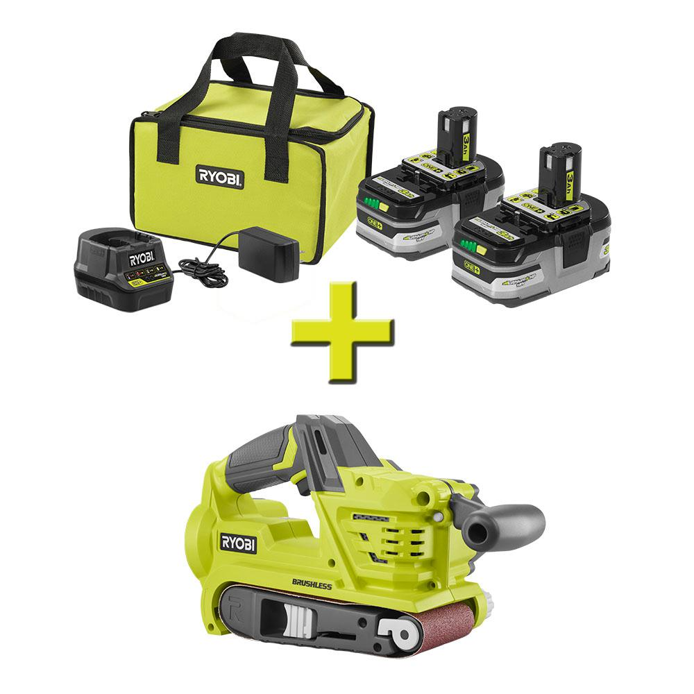 RYOBI 18-Volt ONE+ LITHIUM+ HP 3.0 Ah Battery (2-Pack) Starter Kit with Charger and Bag with Bonus ONE+ Belt Sander