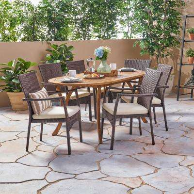 Landon Brown 7-Piece Wood and Wicker Outdoor Dining Set with Cream Cushions