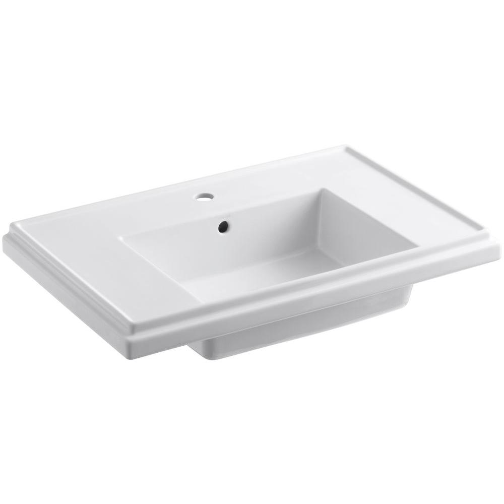 Kohler Tresham 30 In Fireclay Pedestal Sink Basin White With Overflow Drain