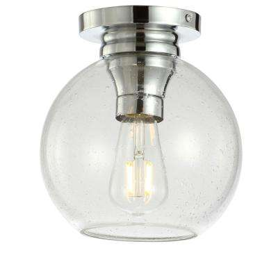 Atlas 7.75 in. Chrome Metal/Bubbled Glass LED Flush Mount