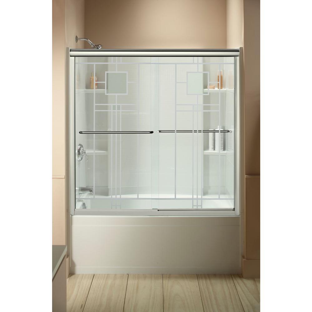STERLING Finesse 59-5/8 in. x 55-3/4 in. Semi-Frameless Sliding Bathtub Door in Nickel with Handle