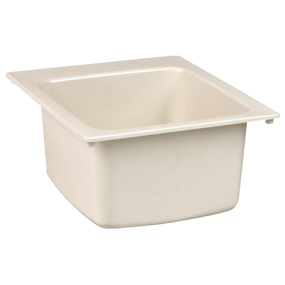 MUSTEE 17 in. x 20 in. Fiberglass Self-Rimming Utility Sink in Biscuit