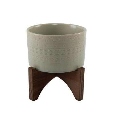 5 in. Matte Sage Mayan Ceramic Pot on Wood Stand Mid-Century Planter