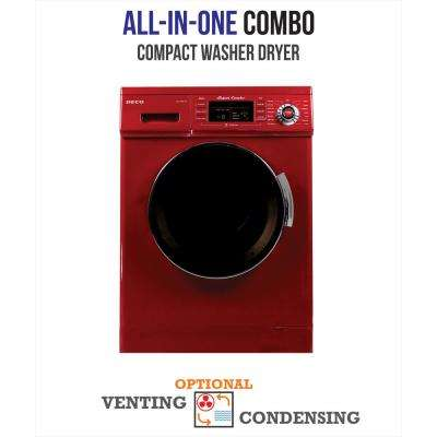 1.6 cu. ft. All-in-One Compact Combo Washer and Electric Dryer with Optional Condensing/Venting and Sensor Dry in Merlot