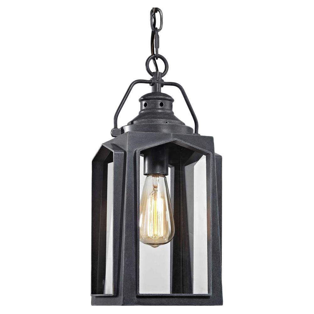 Home Decorators Collection 1-Light Charred Iron Medium Outdoor Hanging Pendant