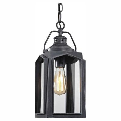 1-Light Charred Iron Medium Outdoor Hanging Pendant