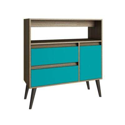 Gota Oak and Aqua Storage Console Table