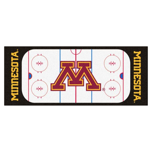 NCAA - University of Minnesota White 3 ft. x 6 ft. Indoor Hockey Rink Runner Rug