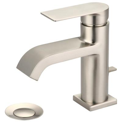 i4 Single Hole Single-Handle Bathroom Faucet with Brass Drain in Brushed Nickel