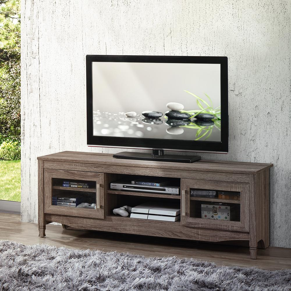 Techni Mobili Gray Driftwood With Shelving And Storage Cabinet Tv Stand