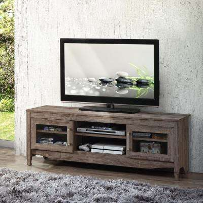 Gray Driftwood with Shelving and Storage Cabinet TV Stand