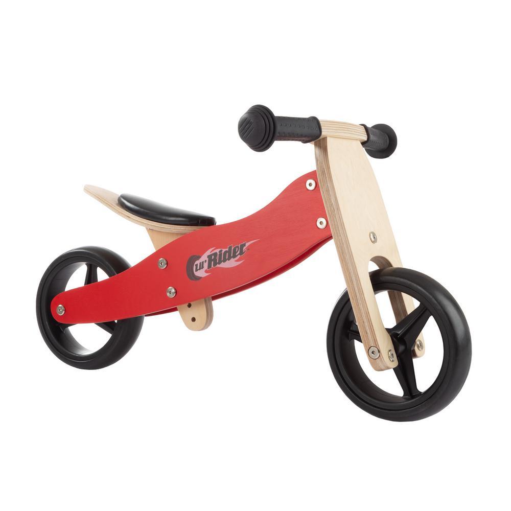 2-in-1 Wooden Balance Bike and Push Trike
