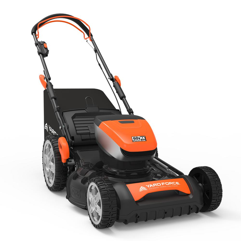 YARD FORCE 20in 60-Volt Cordless Brushless Lithium-ion 4.0Ah Walk Behind RWD Self-Propelled Mower, Battery, Fast Charger Included
