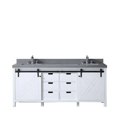 Marsyas 80 in. Double Vanity White, Grey Quartz Top, White Square Sinks and no Mirror
