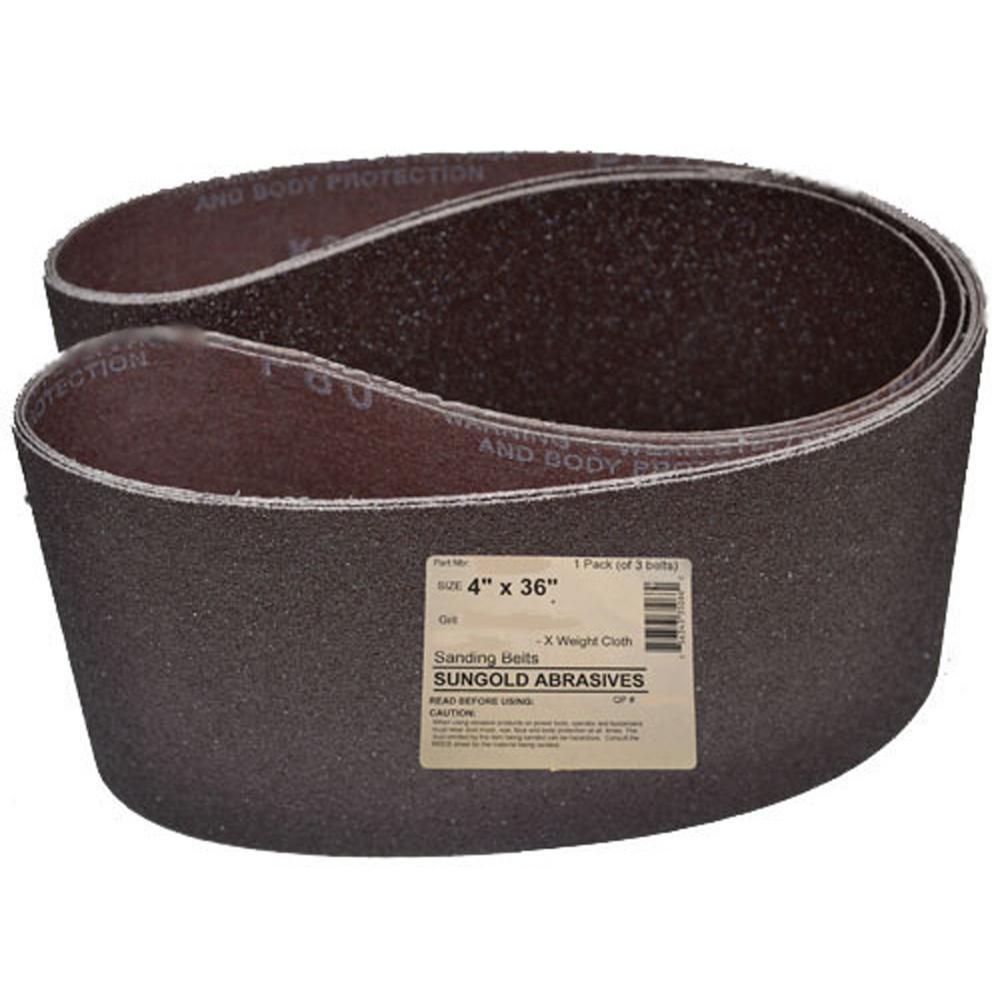 4 in. x 36 in. 60 Grit Sanding Belts Premium Industrial X-Weight Aluminum Oxide (3-Pack)