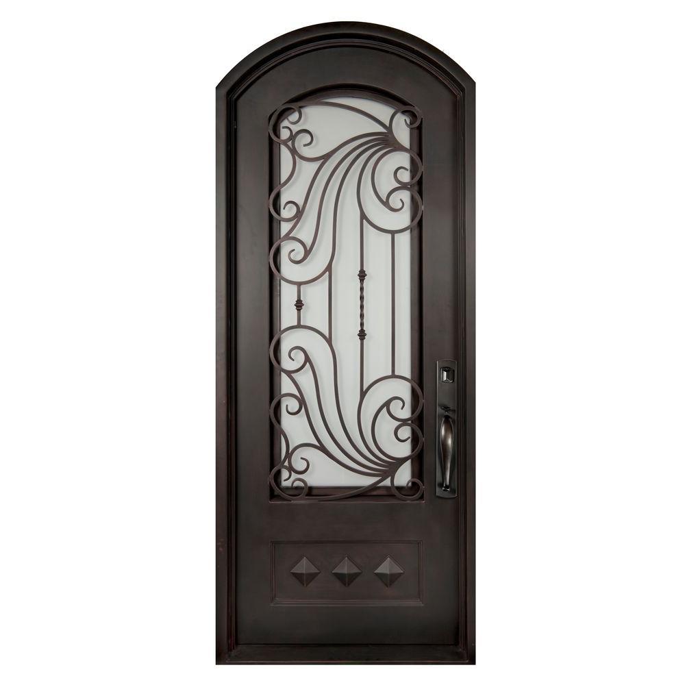Iron Doors Unlimited 40 in. x 98 in. Mara Marea Classic 3/4 Lite Painted Oil Rubbed Bronze Decorative Wrought Iron Prehung Front Door