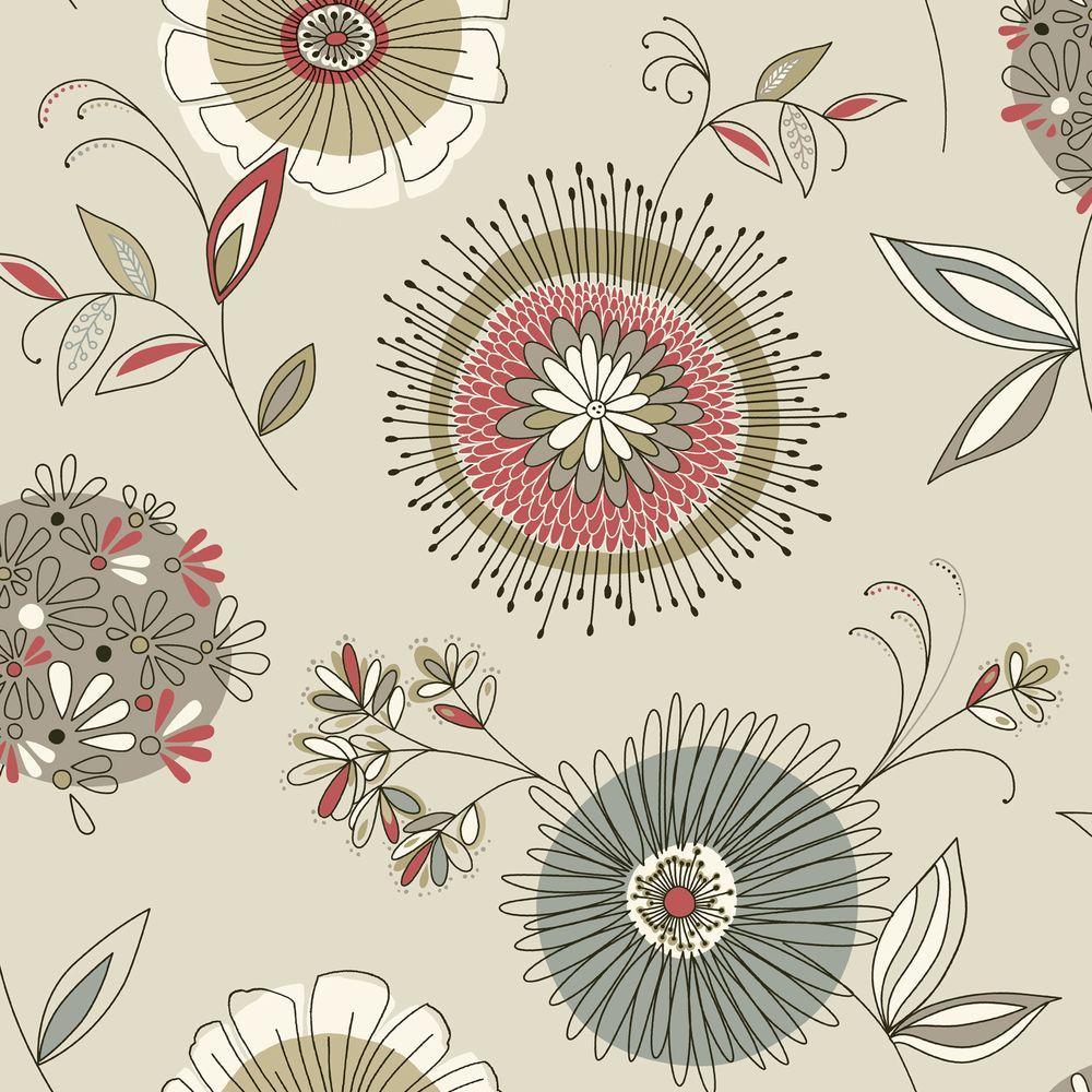 Maisie Grey Floral Burst Wallpaper