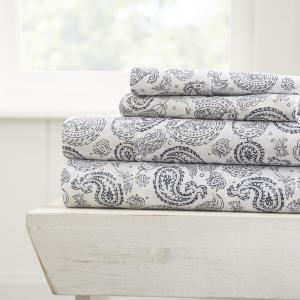 Coarse Paisley Patterned 4-Piece Navy Full Performance Bed Sheet Set