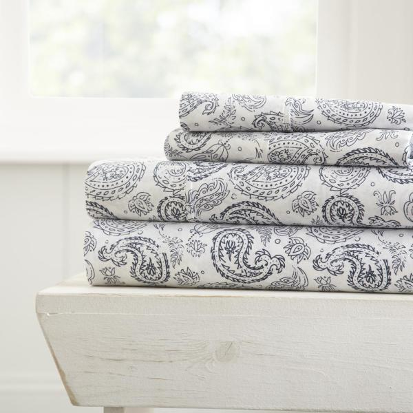 Becky Cameron Coarse Paisley Patterned 4-Piece Navy King Performance Bed Sheet