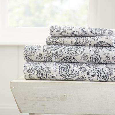 Coarse Paisley Patterned 4-Piece Navy Queen Performance Bed Sheet Set