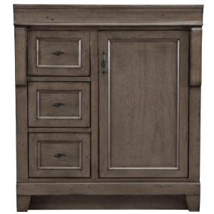 Naples 30 in. W Bath Vanity Cabinet Only in Distressed Grey with Left Hand Drawers