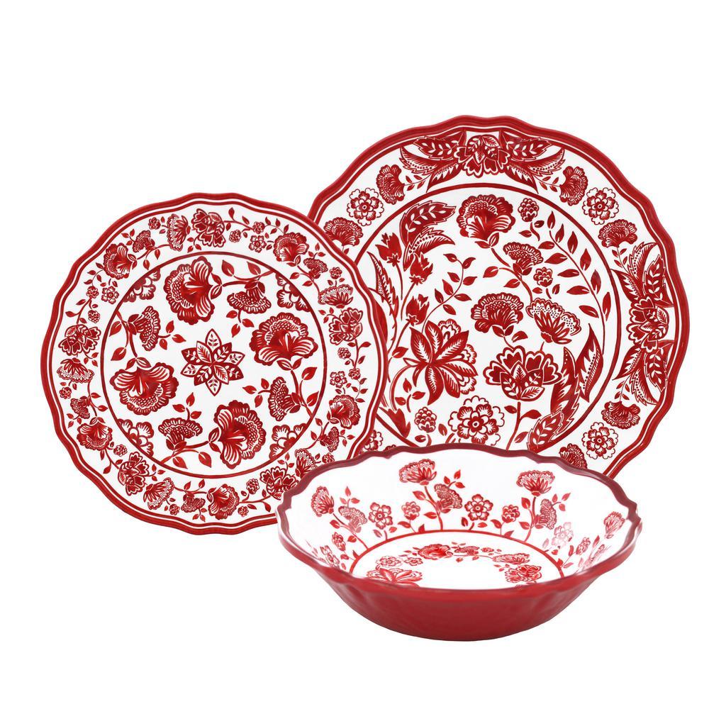 12-Piece Jardin Red Dinnerware Set