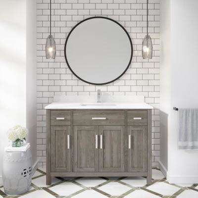 Kali 48 in. W x 22 in. D Bath Vanity in Gray ENGRD Stone Vanity Top in White with White Basin Power Bar and Organizer