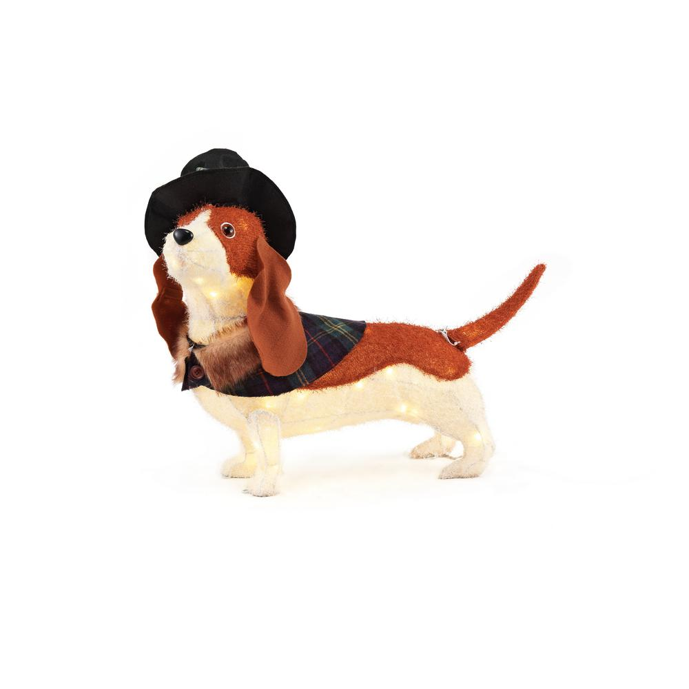 Home Accents Holiday 30IN 60L LED FUZZY BASSETT HOUND-TY149-1714-1 ...