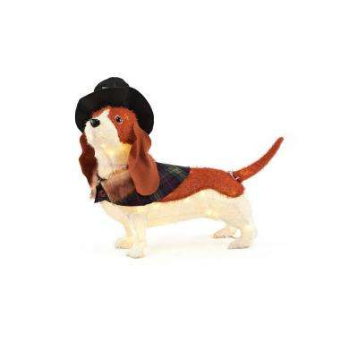 30in 60l led fuzzy bassett hound - Outdoor Dog Christmas Decorations
