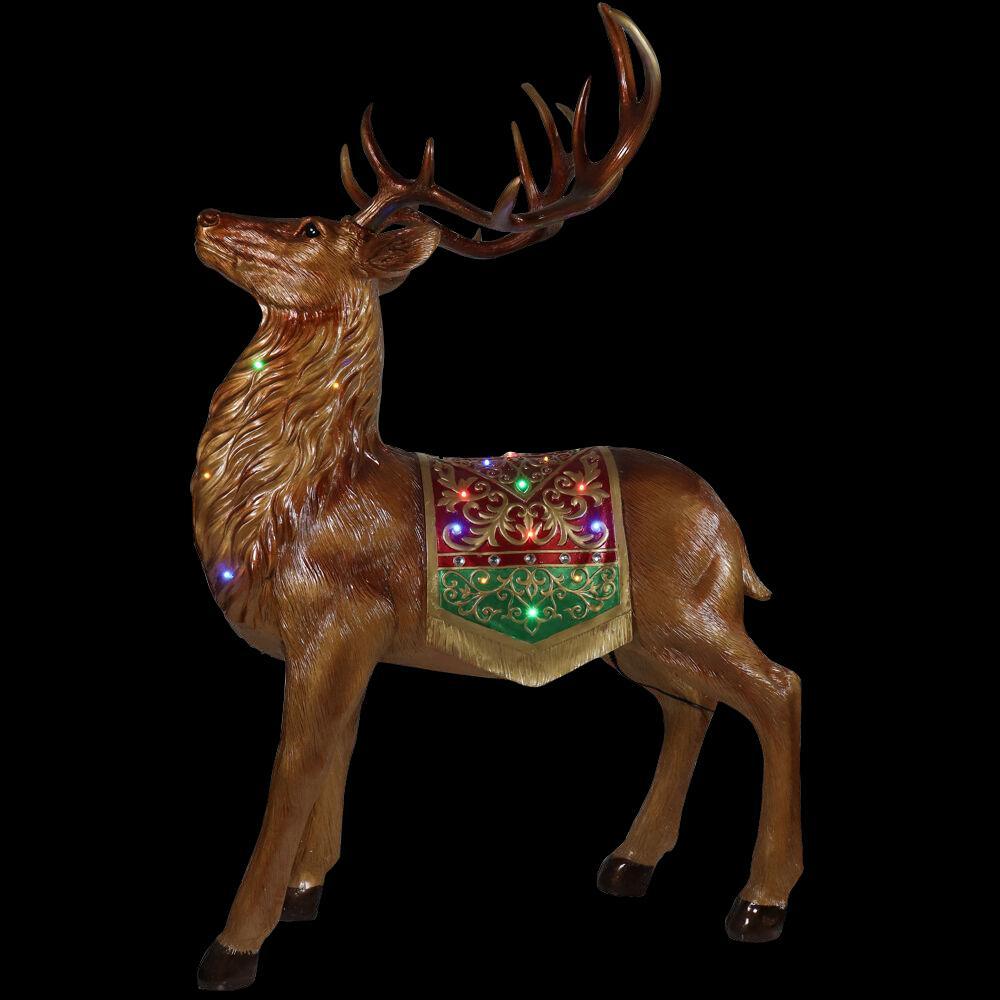 5 ft. Christmas Standing Reindeer with Long-Lasting LED Lights and Metallic