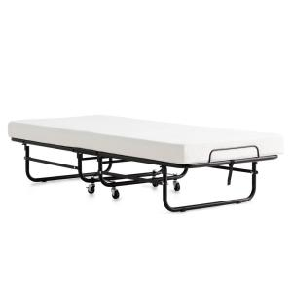 Brookside Rollaway Bed with 4 Inch Twin Memory Foam Mattress Medium-Plush Folding Mattress