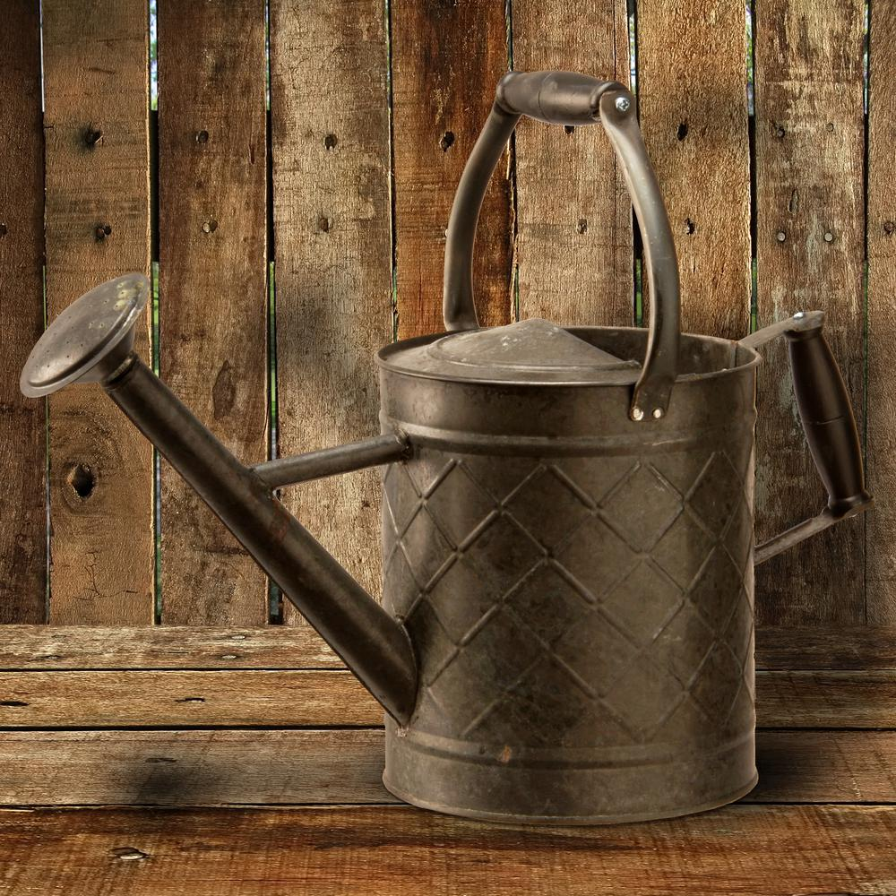 Garden Accents 12 in. Antique Black Metal Watering Can