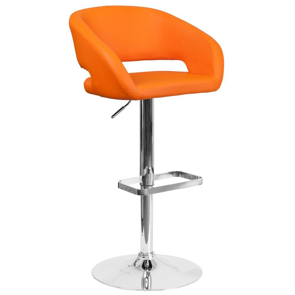Flash Furniture Adjustable Height Orange Cushioned Bar