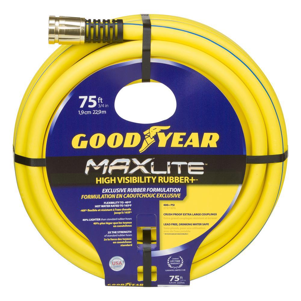 Goodyear 3/4 in. Dia. x 75 ft. Goodyear MAXLite High Visibility Premium Rubber Hose