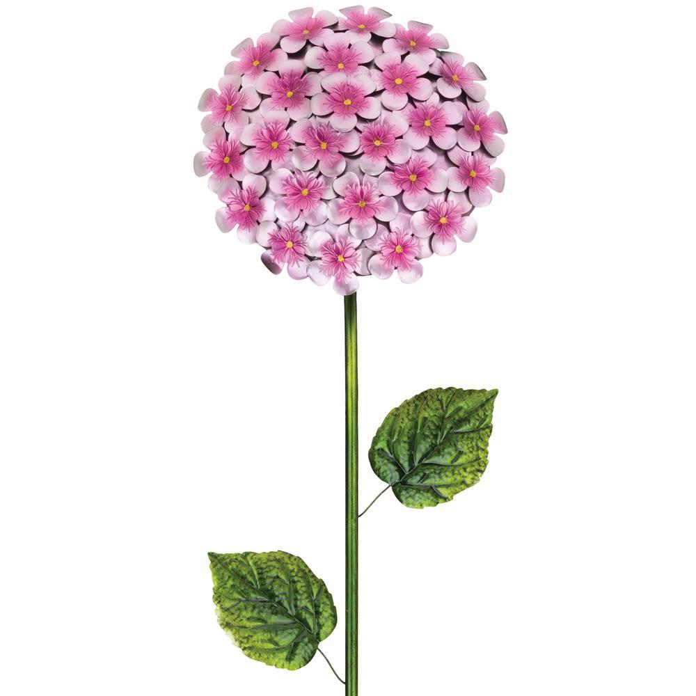 49 in. Hydrangea Flower Stake Pink